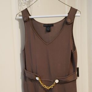 NWOT taupe/ hunter green dress from Nieman Marcus